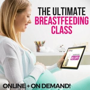 Pregnant woman holding tablet with text that says the ultimate breastfeeding class great home remedies for breastfeeding pain