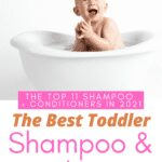 image of light skinned baby smiling in a white tub with a white background and words say best toddler shampoo and conditioner